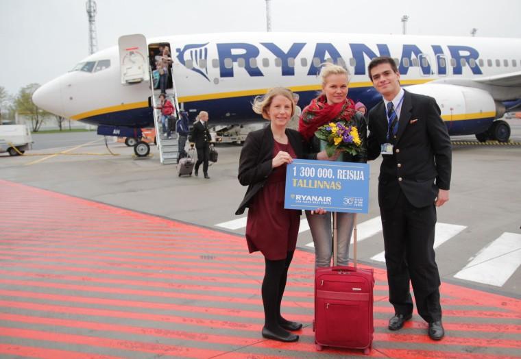 Ryanairi 1,3 miljonis reisija