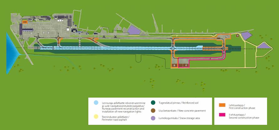 Illustratiivne skeem Tallinna Lennujaama lennuliiklusala arendusprojekti ehitustöödest
